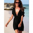 Casual Sexy Deep V Neck Short Sleeve Dress for Women - Black
