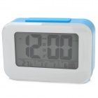 Smart Light Sensor Desk Alarm Clock w/ Date / Week / Temperature Display - Blue  + White (3 x AAA)