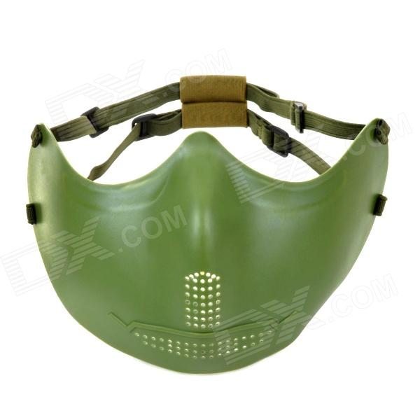 SW2009 Tactic War Game Protective ABS Half-Face Mask - Army Green airsoft adults cs field game skeleton warrior skull paintball mask