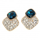 KCCHSTAR Luxurious Sparkling Crystal Rhinestone Earrings - Blue (2 PCS)