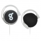 QQ Bad Luck Expression Pattern Ear Hook Headphone - Black + White