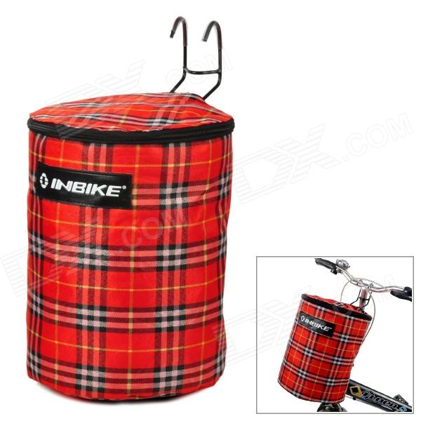INBIKE IP801 Compact Foldable Handlebar Mount Canvas Storage Basket Tote Bag for Bicycle - Red handlebar mount bicycle