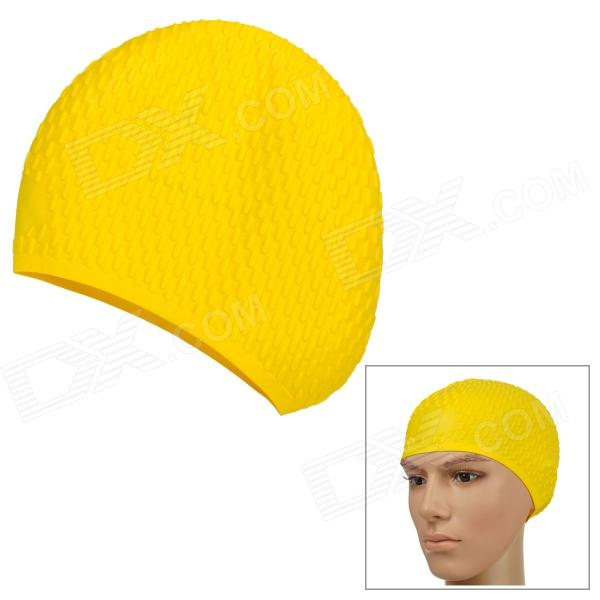 Soft Flexible Silicone Bubbles Design Swimming Hat / Cap - Yellow win max wmb07200 stylish silicone swimming cap white