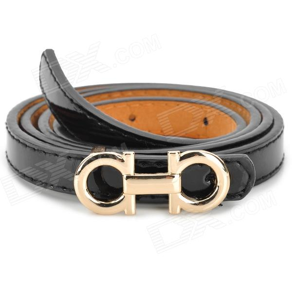 Fashion Adjustable Narrow Waistband Belt w/ Metal Buckle - Black + Golden