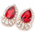 KCCHSTAR Elegant Zinc Alloy Earrings w/ Crystal for Women - Red + Silver + Golden