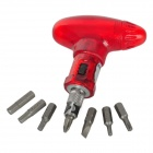 OQSPORT Q7 Handy Compact Ratchet Wheel Screw Driver Tool Set for Bicycle - Red