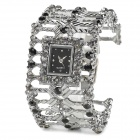 Elegant Women's Titanium Alloy w/ Crystal Band Quartz Analog Bracelet Wrist Watch - Silver + Black