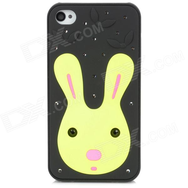 Protective Cute Rabbit Pattern w/ Crystal Case for Iphone 4 / 4S - Black + Yellow luxury bling crystal back case for iphone 4 4s black