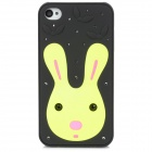 Protective Cute Rabbit Pattern w/ Crystal Case for Iphone 4 / 4S - Black + Yellow