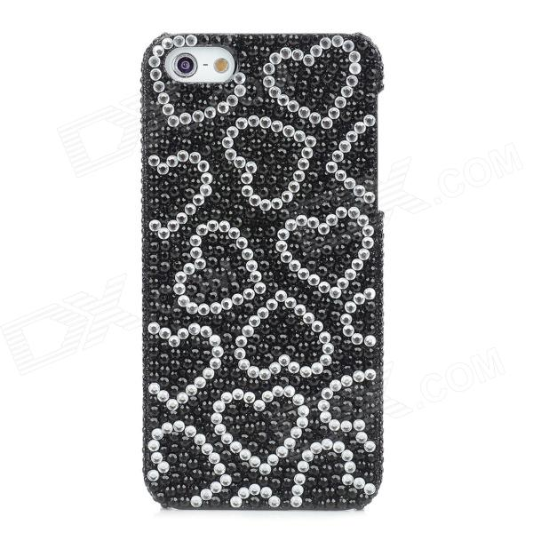 Fashion Plastic Back Case w/ Heart Shape Crystal for Iphone 5 - Black + White protective heart shape rhinestone decoration back case for iphone 5 brown