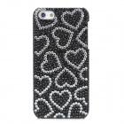 Fashion Plastic Back Case w/ Heart Shape Crystal for Iphone 5 - Black + White