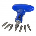 OQSPORT Q7 Handy Compact Ratchet Wheel Screw Driver Tool Set for Bicycle - Blue
