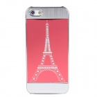 Fashion Eiffel Tower Pattern Plastic Metal Back Case for Iphone 5 - Red + Silver