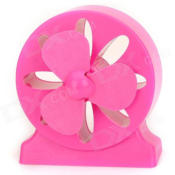 LJQ LJQ-071 Hollowed Flower Pattern 3-Blade USB Powered Fan - Deep Pink