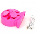 LJQ LJQ-071 Teste padrão de flor Hollowed 3-Blade USB Fan Powered - Deep Pink