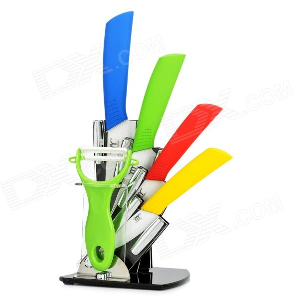 KINGDOUBLE 3 4 5 6 Zirconia Ceramic Knife + Peeler + Stand - Green + Blue + Red + Yellow