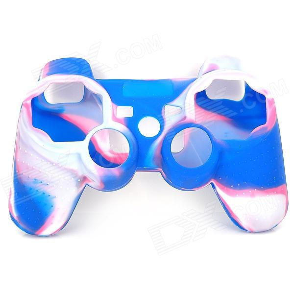 Protective Soft Silicone Case for PS3 Controller - Blue + White + Pink