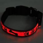 Adjustable Reflective Red Light LED Strip Pet Safety Collar - Red (M)
