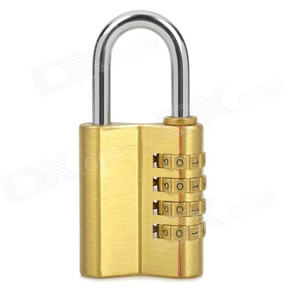 CJSJ 04H Fine Brass Resettable 4-Digit Pin Combination Padlock - Golden + Silver padlock ka 1 1 16 in h 5 pin aluminum