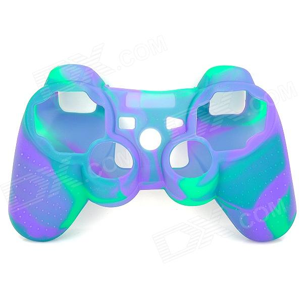 Protective Soft Silicone Case for PS3 Controller - Green + Purple one piece 1x brand new high quality silicon protective skin case cover for xbox 360 remote controller blue green mix color