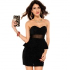 LC2743-2 Fashionable Sexy Mesh Waisted Glitter Peplum Dress for Women - Black (Size-L)
