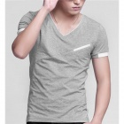 Men's V Style Collar Modal Short Sleeve T-shirt - Grey (XXL Size)
