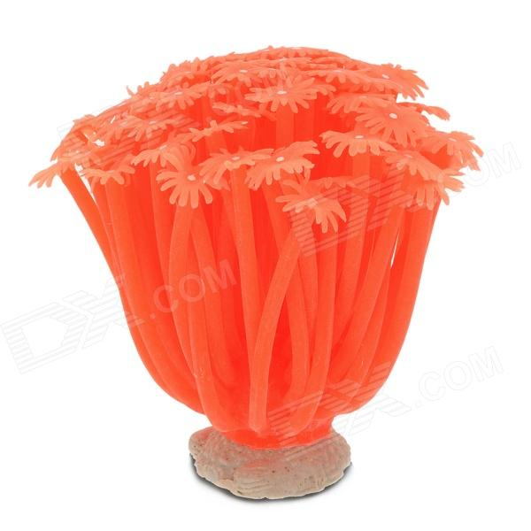Realistic Decoration Sea Anemone for Pet Fish Zone - Orange Red