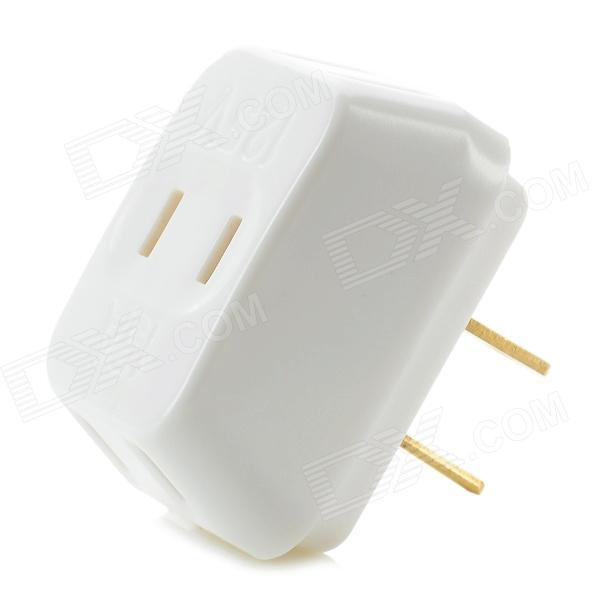 095 3-in-1 Portable Power Adapter Converter Wall Socket  - White + Golden (US Plug)
