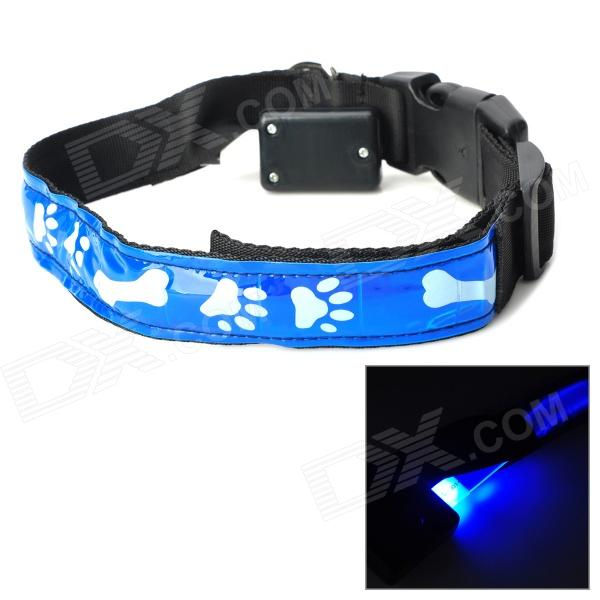 Bone & Pad Pattern Glow-in-the-Dark LED Strip Nylon Pet Safety Collar - Blue + Black (Size L) футболка hardlunch outdoor pocket f15 dark blue l