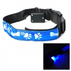 Bone & Pad Pattern Glow-in-the-Dark LED Strip Nylon Pet Safety Collar - Blue + Black (Size L)