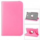 Lychee Pattern 360 Degree Rotation PU Leather Case for Samsung Galaxy Tab 3 P3200 - Deep Pink