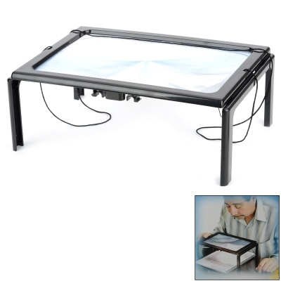 Hands Free Desktop Magnifier w/ LED Lamp for the Elderly - Black (2 x AAA)