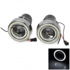 M603 H3 55W 3200lm 4000K Yellow + White Light LED Angel Eyes Halogen Car Fog Lamp - Black (2 PCS)