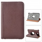 Protective 360 Degree Rotation PU Leather Case for Samsung Galaxy Tab 3 P3200 - Dark Brown