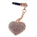 Stylish Heart Shape + Shiny Rhinestone 3.5mm Anti-dust Plug for iPhone 4S / 5 + More - Silver