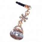 Stylish Shiny Rhinestone Style 3.5mm Anti-dust Plug for Iphone 4S + More - Transparent + Golden