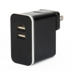 E-103 Dual USB AC Power Charger Adapter for Iphone / Ipad + More - Black (US Plug / AC 100~240V)