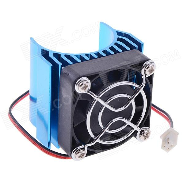 N10022 Aluminum Alloy Motor Heatsink w/ Fan for RC 540 / 550 Motor - Blue 03011 rs540 26 turn 540 motor rc car hsp 1 10 scale models brushed electric motor brush for himoto redcat remote control cars