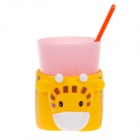 Lovely Cattle Style Plastic Toothbrush + Cup w/ Cup Base Set for Children - Multicolored