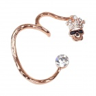 Crown Skull Head Style Copper Alloy + Rhinestone Left-Ear Earring - Golden + Black