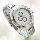 Three-Holes Six-Needle Steel Alloy Band Quartz Analog Watch for Men - Silver + White (1 x SR626SW)