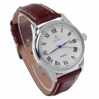 ORKINA P0032 Men's Quartz Watch + Roman Numeral Scale + Simple Calendar - Brown + Silver (1 x LR626)