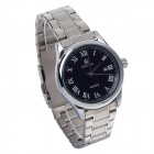 ORKINA P0032 Men's Quartz Watch + Roman Numeral Scale + Simple Calendar - Silver + Black (1 x LR626)