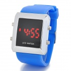 Silicone Band Square Dial 4-Digit Red LED Digital Wrist Watch - Blue (1 x CR2032)