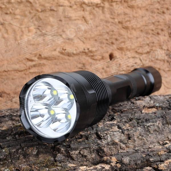 3000lm 5-Mode White Light Flashlight w/ 4 x Cree XM-L U2 - Black (2 x 18650)18650 Flashlights<br>BrandOthers,N/AModelN/AQuantity1 DX.PCM.Model.AttributeModel.UnitForm  ColorBlackMaterialAluminum alloyOther FeaturesOthers,N/AEmitter BrandCreeLED TypeXM-LEmitter BINU2Number of Emitters4Color BINWhiteWorking Voltage   8.4 DX.PCM.Model.AttributeModel.UnitPower Supply2 x 18650 batteries (not included)Current2.3 DX.PCM.Model.AttributeModel.UnitActual Lumens3000 DX.PCM.Model.AttributeModel.UnitRuntime3~4 DX.PCM.Model.AttributeModel.UnitNumber of Modes5Mode ArrangementHi,Mid,Low,Fast Strobe,SOSMode MemoryNoSwitch TypeReverse clickySwitch LocationTailcapLensGlassReflectorAluminum SmoothBeam Range300 DX.PCM.Model.AttributeModel.UnitStrap/ClipNoOutput(lumens)1001 and aboveRuntime(hours)3.1-4Packing List1 x Flashlight<br>
