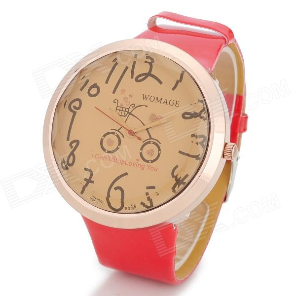 Fashion Bicycle Pattern Oversized Quartz Wrist Watch - Red + Champagne (1 x 377)