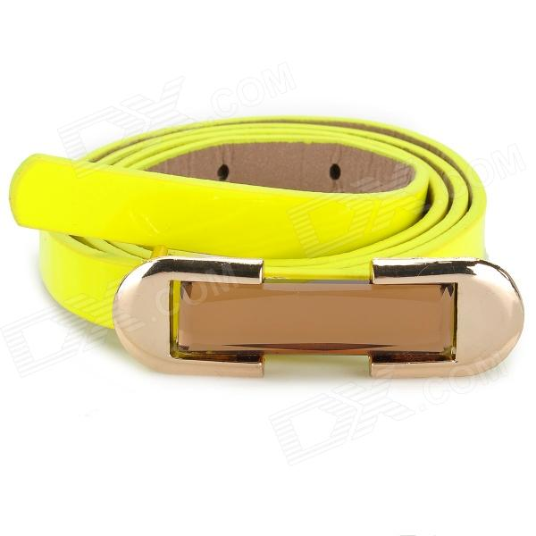 Fashion Acrylic Diamond Slim Lady's PU Leather Belt - Yellow + Golden