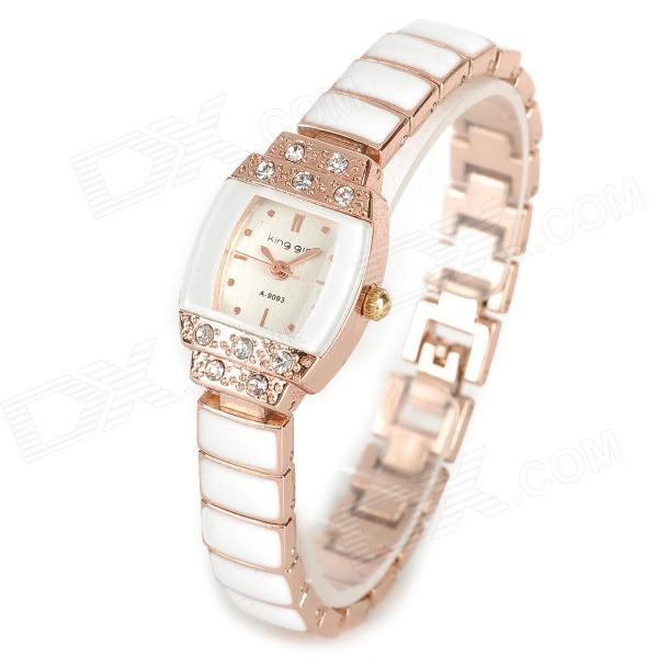 Fashion Zinc Alloy Shiny Rhinestone Quartz Bracket Watch - White + Golden (1 x 377) fashion lady s zinc alloy band quartz analog rhinestone waterproof wrist watch silver 1 x 377