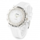 SKMEI 0995C Fashion Shiny Rhinestone Silicone Band Quartz Wrist Watch - White (1 x CR2025 + SR626)