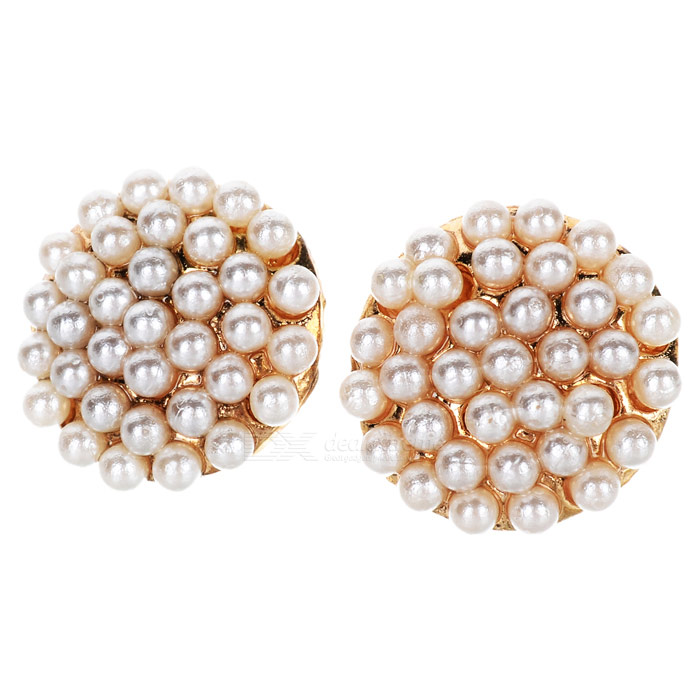 Stylish Mushroom Style Pearl Ear Studs - Golden + White (2 PCS)